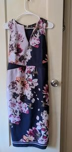 A pink and navy blue flowered dress